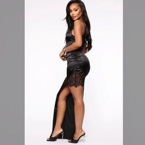 Fashion Nova Diamonds To Spare Satin Maxi Dress